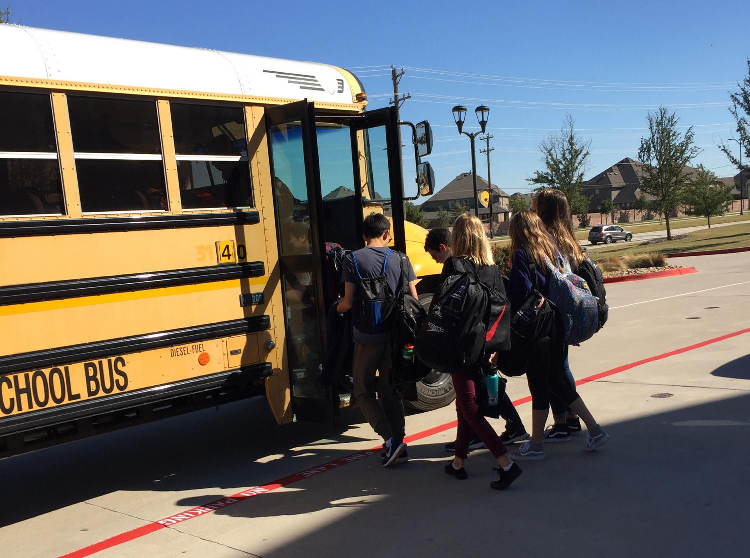 In order to prevent being tardy, some students choose to ride the bus to get to the CTE Center.